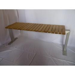 Sitzbank aus altem Eichenholz und Alu